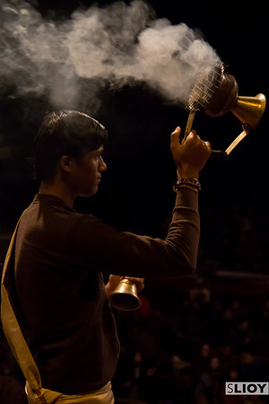 A pandit with an incense burner at the Aarti ceremony in Varanasi.