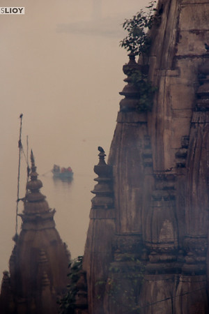 Quiet moment on a hazy day overlooking the Ganges.
