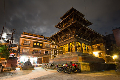 The quiet of night on the backstreets near Patan's Durbar Square.