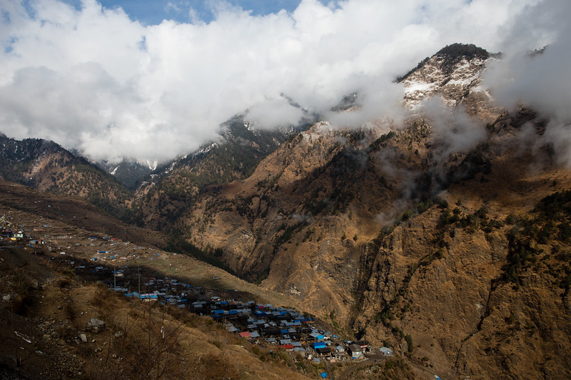 Cloudy mountain panorama above Gatlang village on the first stage of the Tamang Heritage Trail in Nepal.