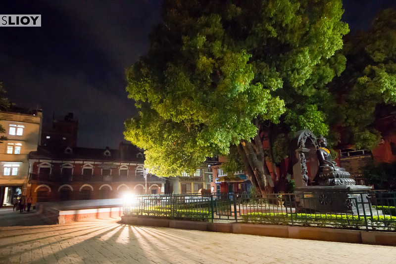 Night on the backstreets of residential Basantpur (Patan).