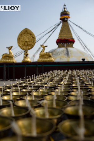 Butter Candle Offerings at Boudhanath Temple in Kathmandu.