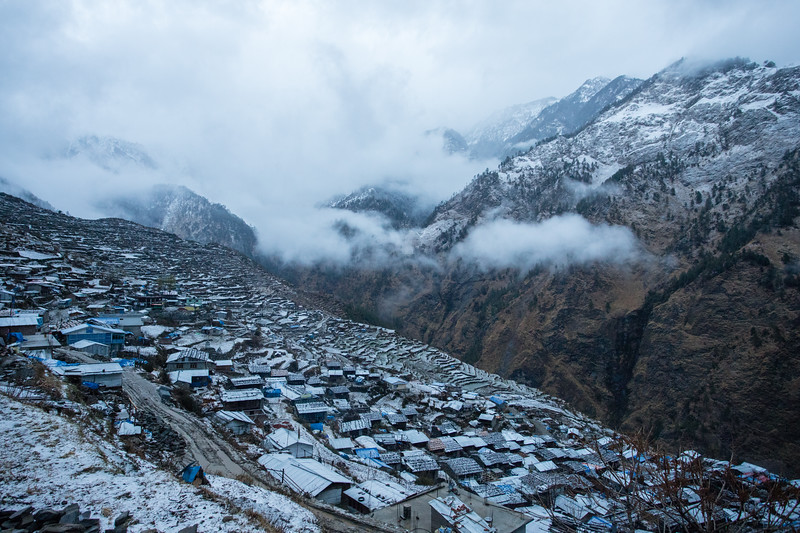 Gatlang village on the Tamang Heritage Trail in Nepal, on a snowy morning in the beginning of spring.
