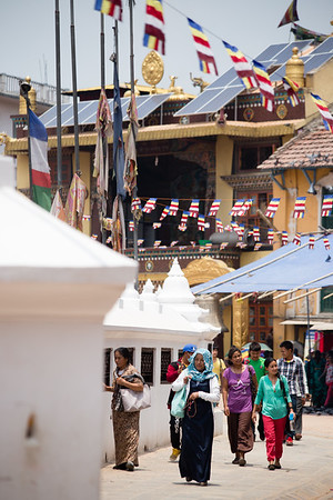 Pilgrims circumambulate the Boudhanath Stupa in Nepal's capital city of Kathmandu.