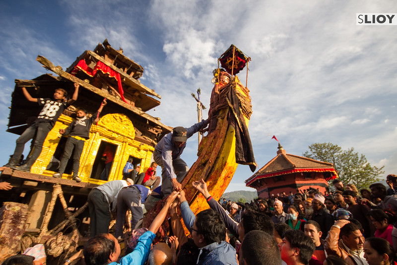 Devotions at the chariot of Bhairab during Bisket Jatra 2015.