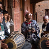 Music plays a central part in the Bisket Jatra festivities. Here, local me gather together to play and sing while awaiting the start of a procession.