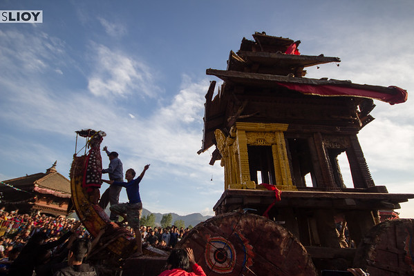 Atop Bhairab's chariot during the 2015 Bisket Jatra festival in Nepal.