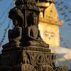 Religious details in the Swayambhu Monkey Temple in Kathmandu, Nepal.