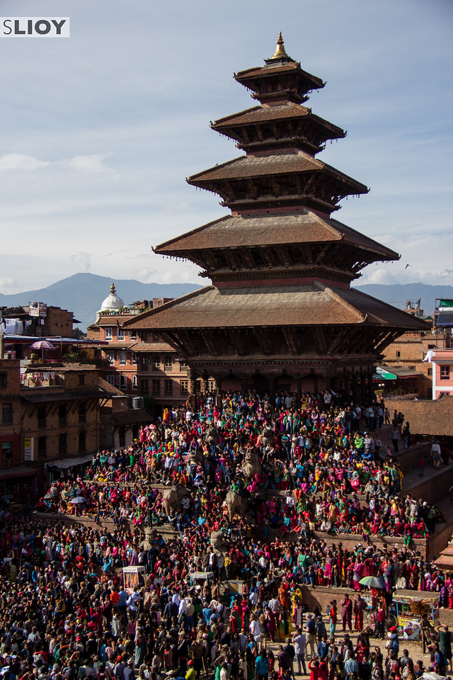 Nyatapola Temple covered in spectators during Bisket Jatra Festival.