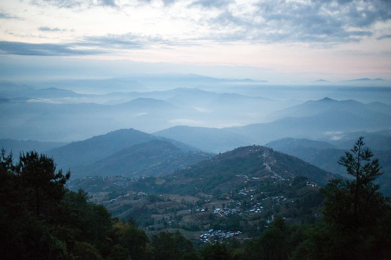 Sunrise from the hills of Nagarkot near Kathmandu Nepal.