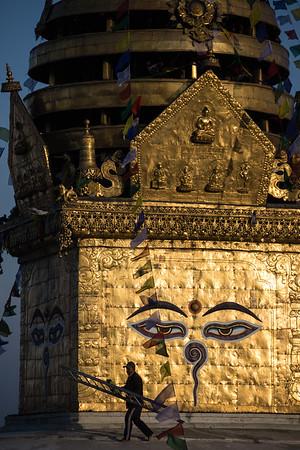 A local man atop the Swayambhu Monkey Temple in Kathmandu, Nepal.