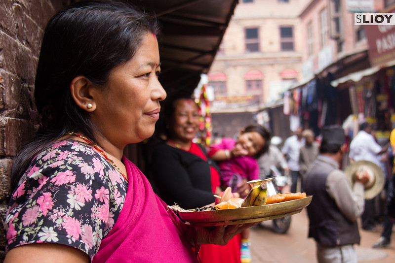 Making devotions during the Bisket Jatra festival in Nepal.