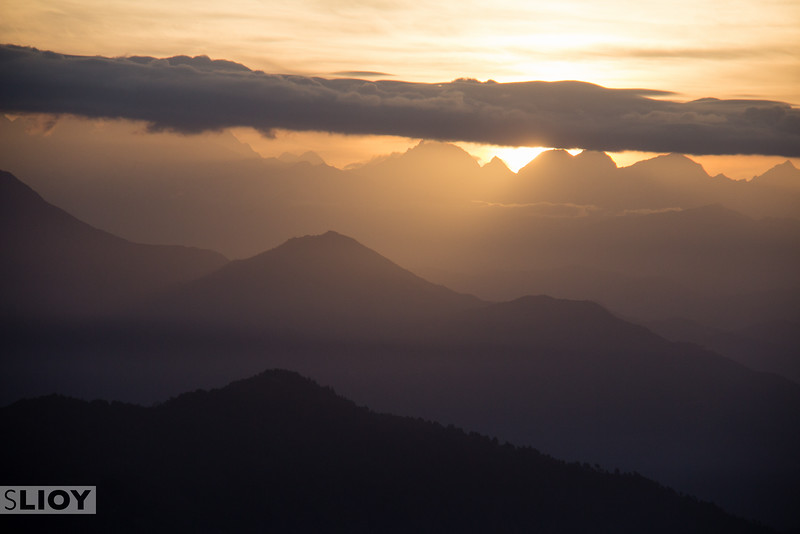 Sunrise over Nagarkot Hill Station.