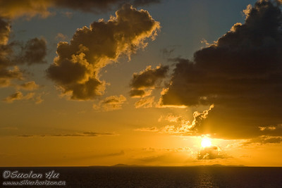 Sunset over the island of St. Thomas