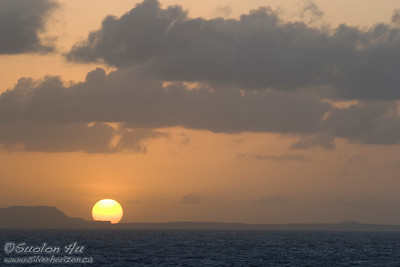 Sunset over the island of Curacao