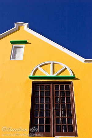 Canary colour building in Willemstad, Curacao
