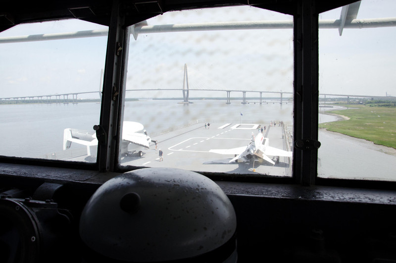 Taken on the bridge of the USS Yorktown. E-1B Tracer and F-4J Phantom II on the Flight Deck. (from left to right)