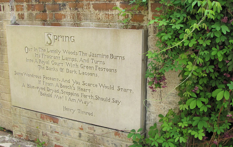 Poetry and Prose Are Etched Around the Garden Areas Also - Brookgreen Gardens, Murrells Inlet, SC  3-25-11<br /> The plant on the right is Fiveleaf Akebia - Akebia quinata