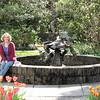 Donna in Tulip Garden with Sculptured Fountain - Brookgreen Gardens, Murrells Inlet, SC  3-25-11