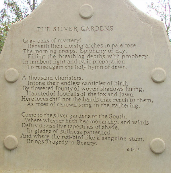 The Reverse Side of The Visionaries - Poem by Archer Milton Huntington (1870-1955), Co-founder of the Gardens with Wife Anna - Brookgreen Gardens, Murrells Inlet, SC  3-25-11