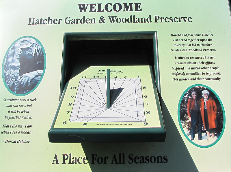 "Signage - Hatcher Garden and Woodland Preserve - Spartanburg, SC<br /> Harold and Josephine Hatcher embarked upon the journey that led to this preserve.  Limited in resources but not creative vision, their efforts inspired and united other people selflessly committed to improving this garden and their community.  Harold Hatcher Quote:  ""A sculptor sees a rock and can see what it will be when he finishes with it.  That's the way I am when I see a woods."""