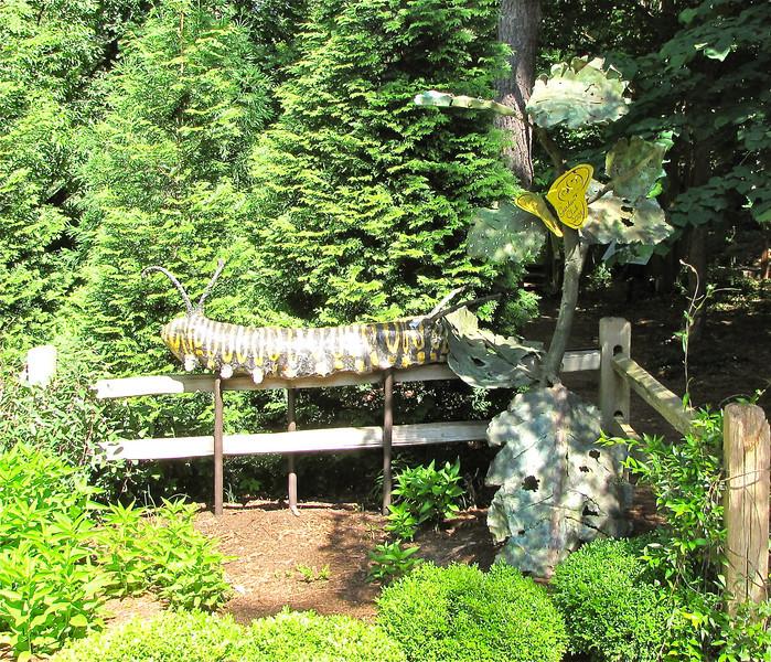 Metal Sculpture of Monarch Caterpillar and Butterfly in Butterfly Garden - Hatcher Garden and Woodland Preserve - Spartanburg, SC