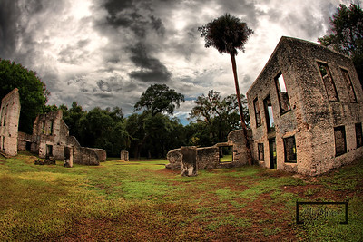 Ominious clouds overlooking a palmetto tree and Tabby Ruins on Spring Island, South Carolina  © Copyright m2 Photography - Michael J. Mikkelson 2009. All Rights Reserved. Images can not be used without permission.  Spring Island, Tabby Ruins, Palmetto Tree, South Carolina, HDR, Live Oak, Mike Mikkelson, m2 Photography, Old Tabby Links