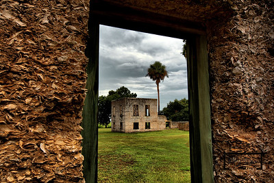 Looking through window towards additional Tabby Ruins, including lone palmetto tree, on Spring Island, South Carolina  © Copyright m2 Photography - Michael J. Mikkelson 2009. All Rights Reserved. Images can not be used without permission.  Spring Island, Tabby Ruins, South Carolina, HDR, Live Oak, Mike Mikkelson, m2 Photography, Old Tabby Links