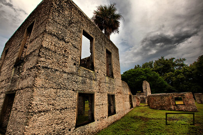 Tabby Ruins on Spring Island, South Carolina  © Copyright m2 Photography - Michael J. Mikkelson 2009. All Rights Reserved. Images can not be used without permission.  Spring Island, Tabby Ruins, Palmetto, Oyster, South Carolina, HDR, Live Oak, Old Tabby Links