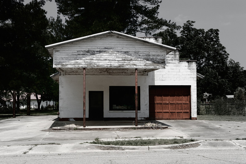 Abandoned gas station on back highway in South Carolina.