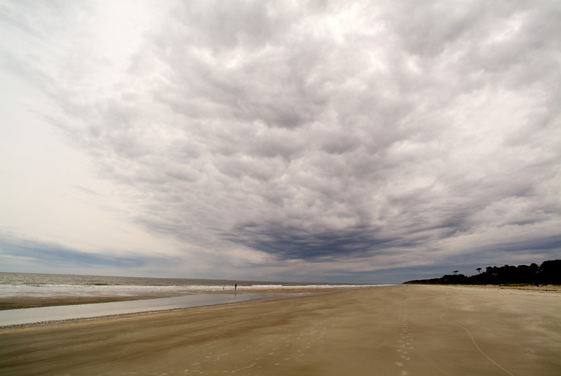 Lonely beach with a storm approaching.