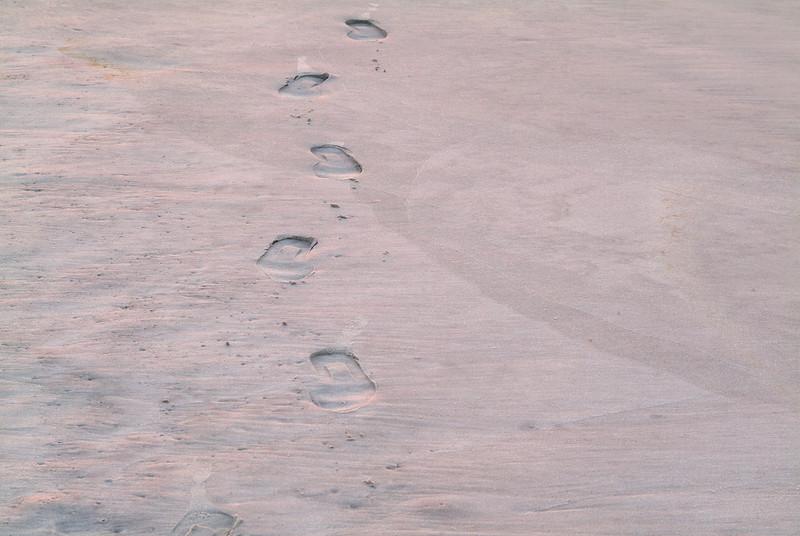 Footprints mark the sand at the beach.