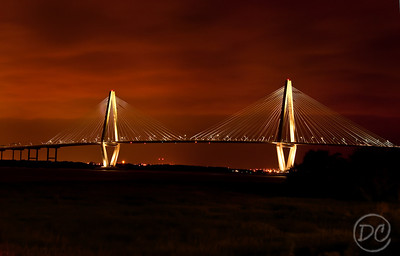 Night shot of Arthur Ravenel Jr. Bridge/Charleston Bridge/New Cooper River Bridge from Patriots Point. Charleston, South Carolina