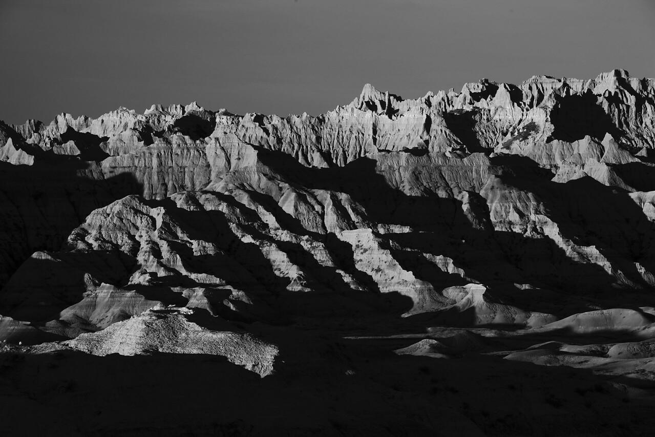 Badlands sunrise1B&W