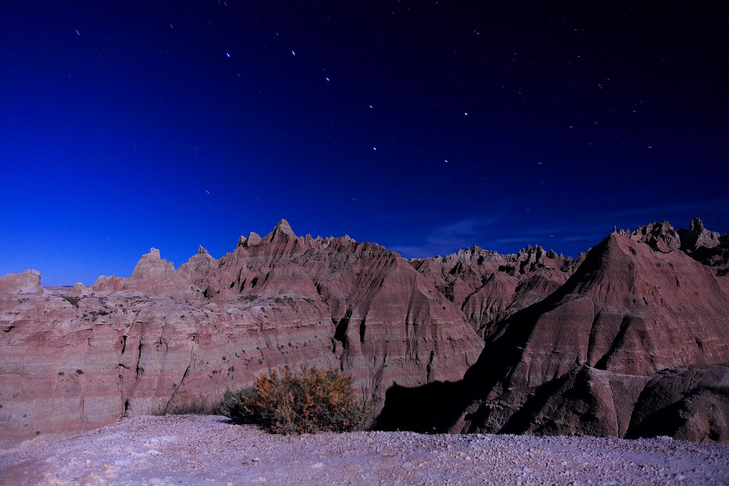 Badlands, moonlight and big dipper