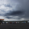 Rain storm at a truck stop in Montana.