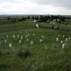 Markers on Last Stand Hill at the Little Bighorn Battlefield National Monument.