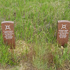 Markers at the Little Bighorn Battlefield National Monument.