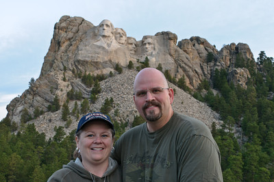 Bubba and Peg in front of Mount Rushmore National Memorial