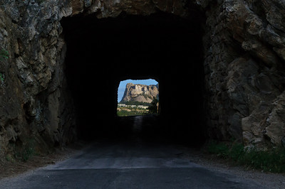Mount Rushmore framed in a tunnel along Iron Mountain Road in South Dakota