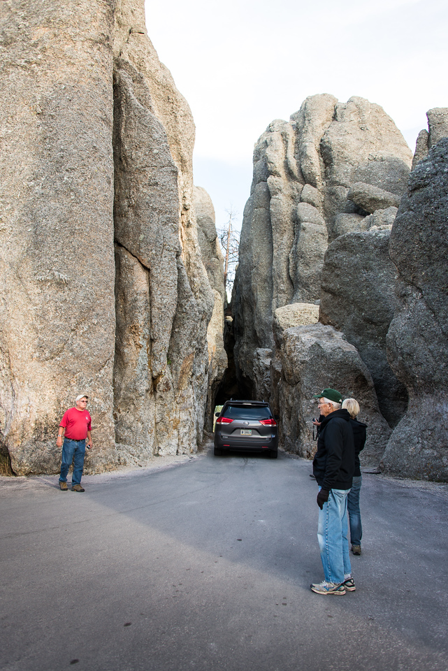 Narrow tunnel through the Needles in Custer State Park, South Dakota - October 2014