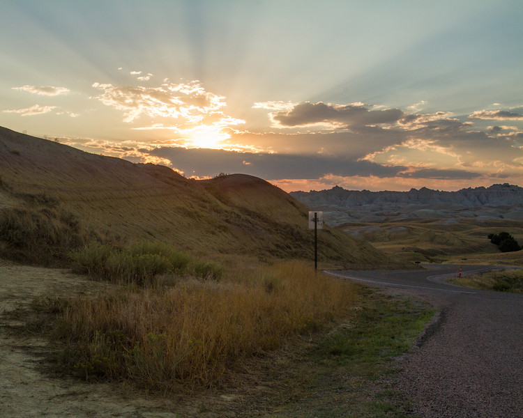 Sunset in Badlands National Park.