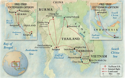 The map of the trip, including the pre-trip to Myanmar.