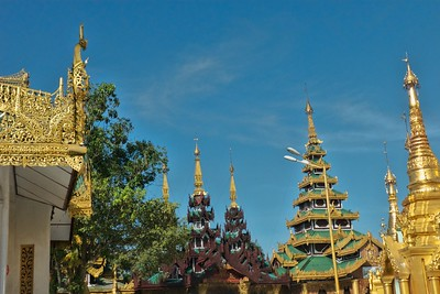 There are many pagodas of various designs in the complex.