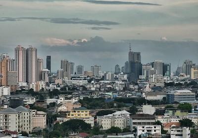 The beauty of the nighttime Bangkok skyline.