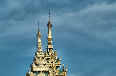 Spires and the beautiful Myanmar sky.