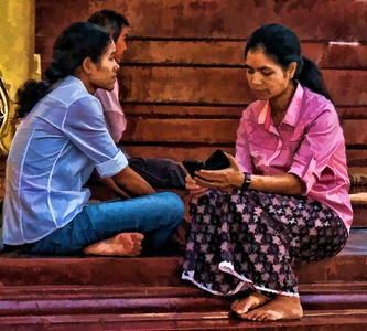 Burmese women during a quiet moment.