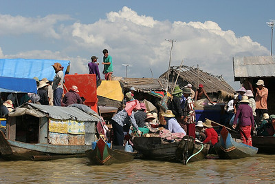 Floating market in the vietnamese fishing village