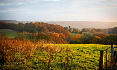 Late Autumn Landscape, South Herefordshire. View from Welsh Newton Common towards the Wye Valley