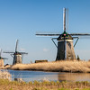 Three windmills near Leidschendam, South Holland, Netherlands